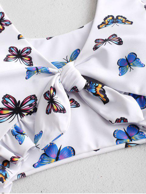 buy ZAFUL Butterfly Print Ruffle Cut Out One-piece Swimsuit - MULTI-A M Mobile