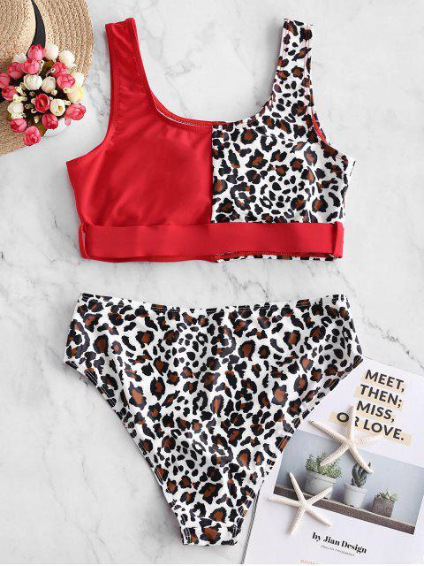Bañador Tankini con contraste y estampado animal Leopard ZAFUL - Rojo M Mobile