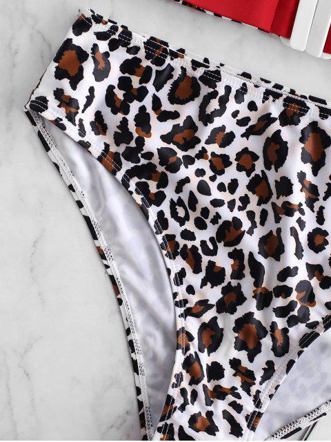 Bañador Tankini con contraste y estampado animal Leopard ZAFUL - Rojo S Mobile