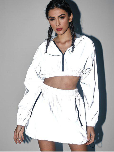 unique Cropped Zip Up Reflective Hoodie - GRAY CLOUD M Mobile