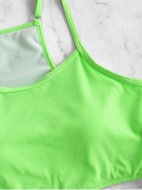 ZAFUL羅紋霓虹高胸Tankini泳衣 - 綠色 XL Mobile