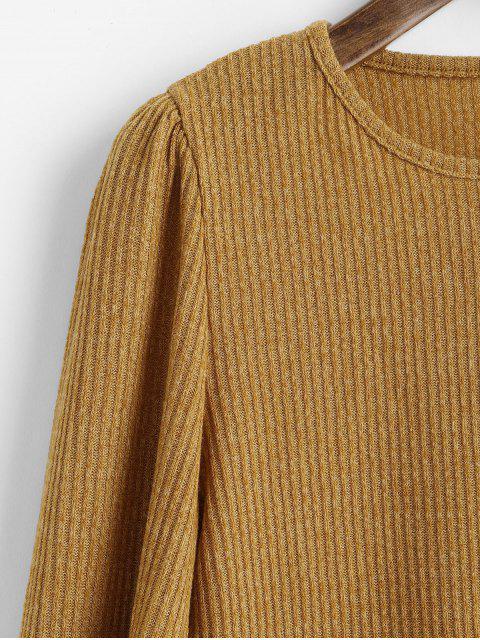 長袖平紋羅紋針織上衣 - 蜜蜂黃色 M Mobile