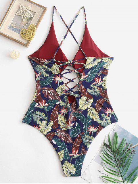 hot ZAFUL Tropical Leaf Cutout Lace-up Reversible One-piece Swimsuit - MAROON S Mobile