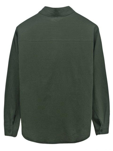 shop Solid Color Chest Pocket High Low Button Shirt - ARMY GREEN 3XL Mobile
