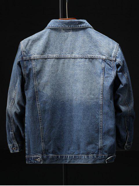 拼接口袋牛仔夾克 - 藍色 2XL Mobile