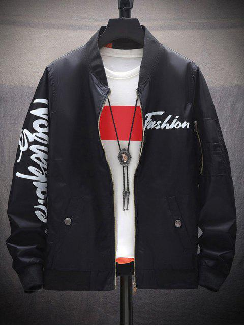 樂器字母圖形打印拉鍊口袋夾克 - 黑色 XS Mobile