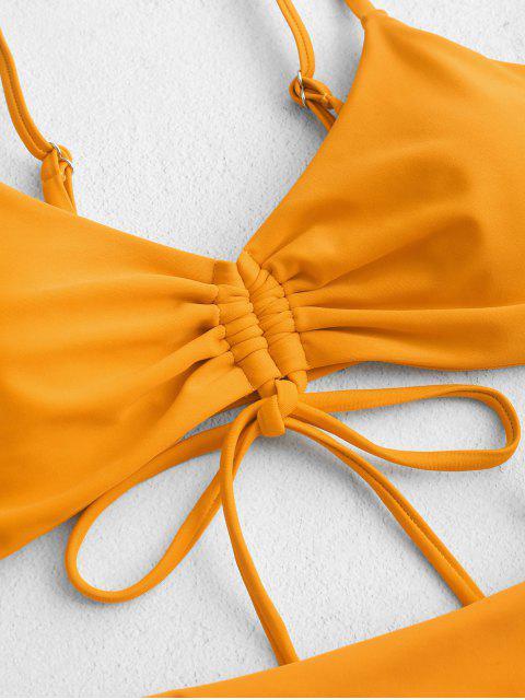 ZAFUL Cinched低腰繫帶比基尼泳裝 - 蜜蜂黃色 M Mobile