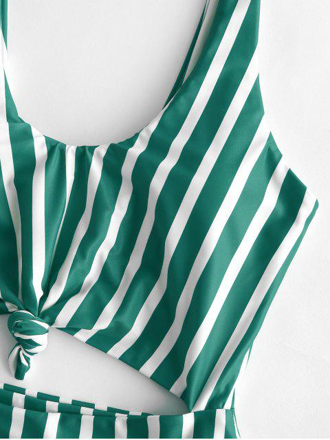 lady ZAFUL Striped Knotted Monokini Swimsuit - MULTI-B S Mobile