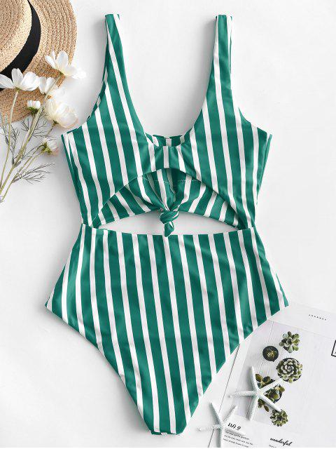best ZAFUL Striped Knotted Monokini Swimsuit - MULTI-B L Mobile
