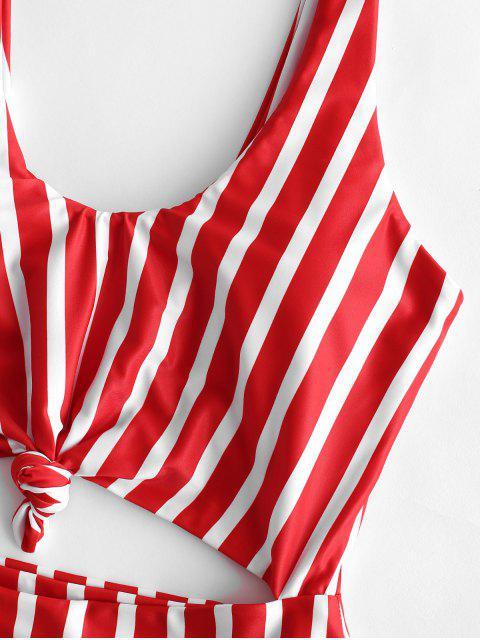 buy ZAFUL Striped Knotted Monokini Swimsuit - MULTI-C S Mobile