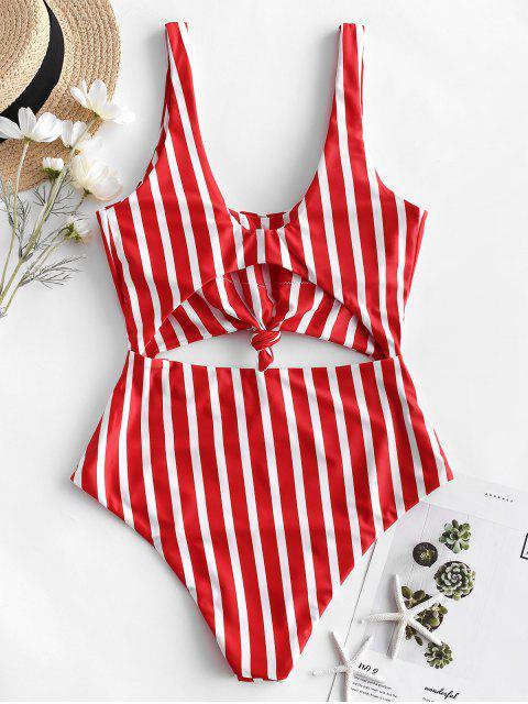 new ZAFUL Striped Knotted Monokini Swimsuit - MULTI-C L Mobile