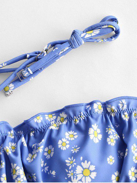 ZAFUL Ensemble de Bikini Bandeau Marguerite Imprimée à Ourlet en Laitue - Bleu de Soie L Mobile