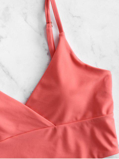 ZAFUL Surplice High Cut Cami Tankini traje de baño - Rojo Frijol XL Mobile