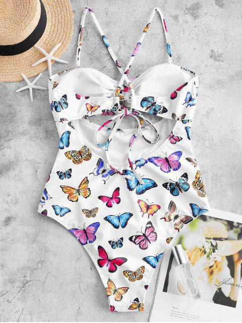 latest ZAFUL Butterfly Print Cinched Tummy Control One-piece Swimsuit - MULTI-A S Mobile