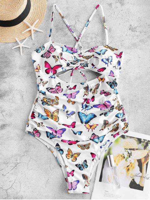 sale ZAFUL Butterfly Print Cinched Tummy Control One-piece Swimsuit - MULTI-A XL Mobile