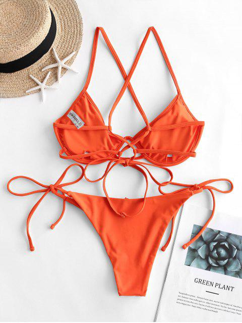 fashion ZAFUL Push Up Criss Cross String Bikini Swimsuit - ORANGE M Mobile