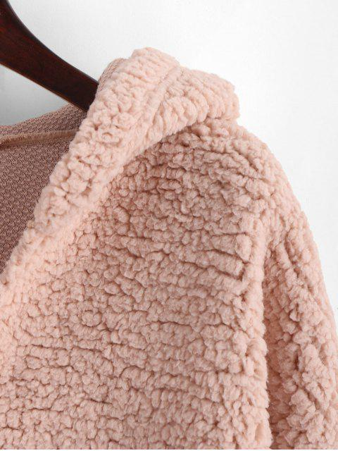 new ZAFUL Drop Shoulder Faux Shearing Teddy Hoodie - ROSY BROWN XL Mobile