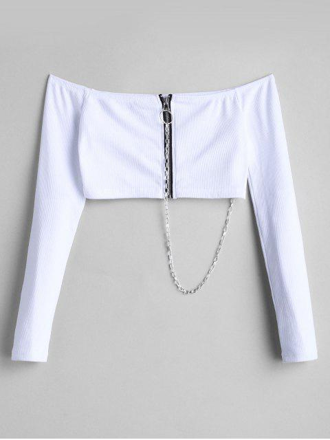 women Chain Ribbed Off Shoulder Zip Up Top - WHITE S Mobile