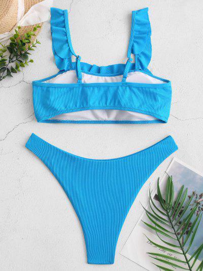 ZAFUL Ruffle Ribbed High Cut Square Neck Bikini Swimsuit, Blue