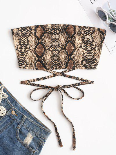 ZAFUL Criss Cross Snake Print Bandeau Crop Top - Multi-b L
