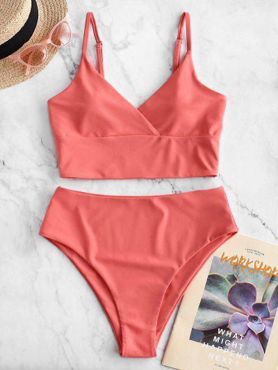 ZAFUL Surplice High Cut Cami Tankini Swimsuit - Bean Red L