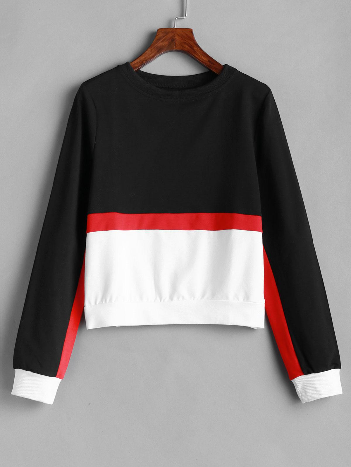 Banded Cuffs Pullover Color Block Sweatshirt фото