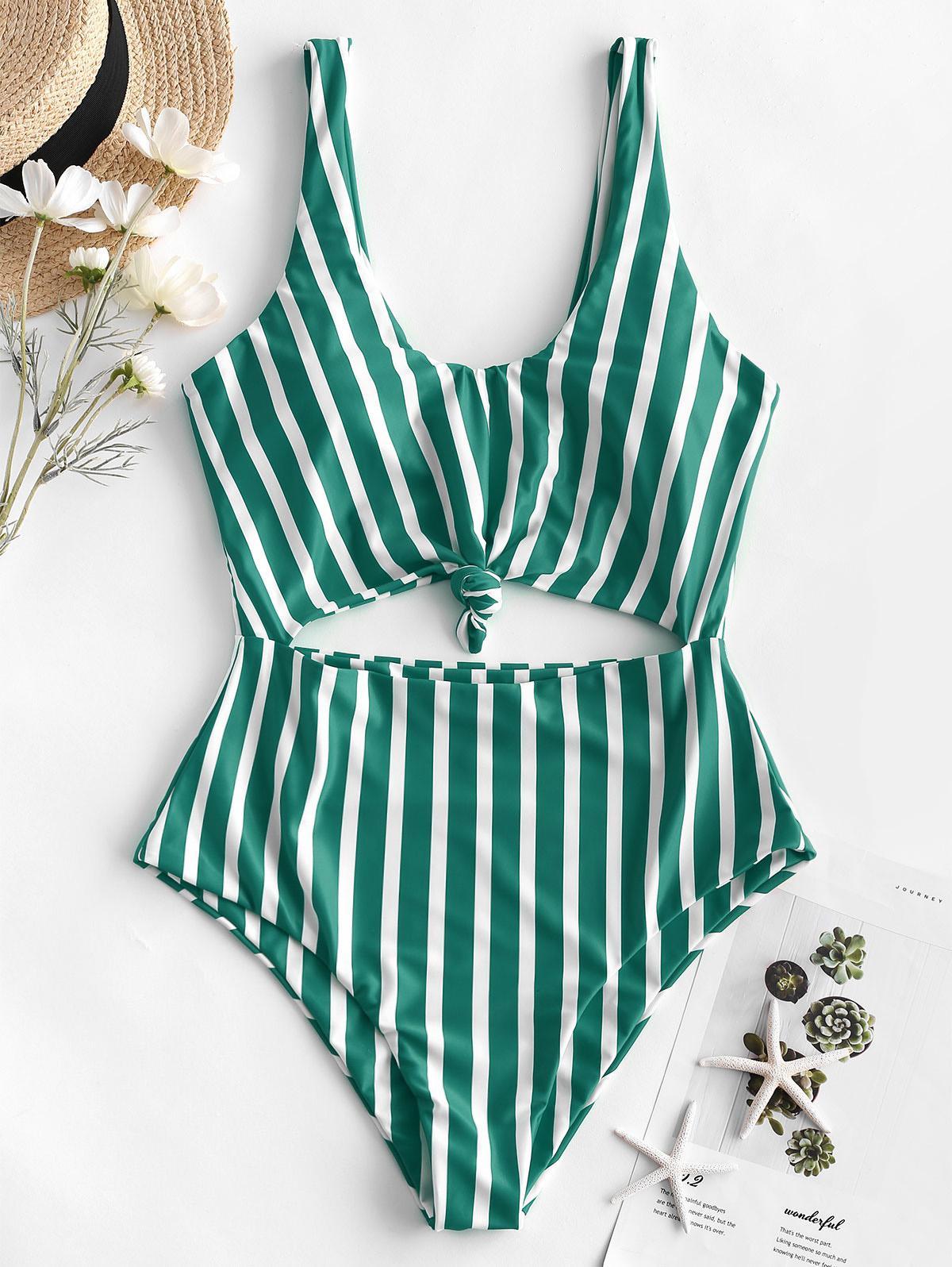 ZAFUL Striped Knotted Monokini Swimsuit thumbnail