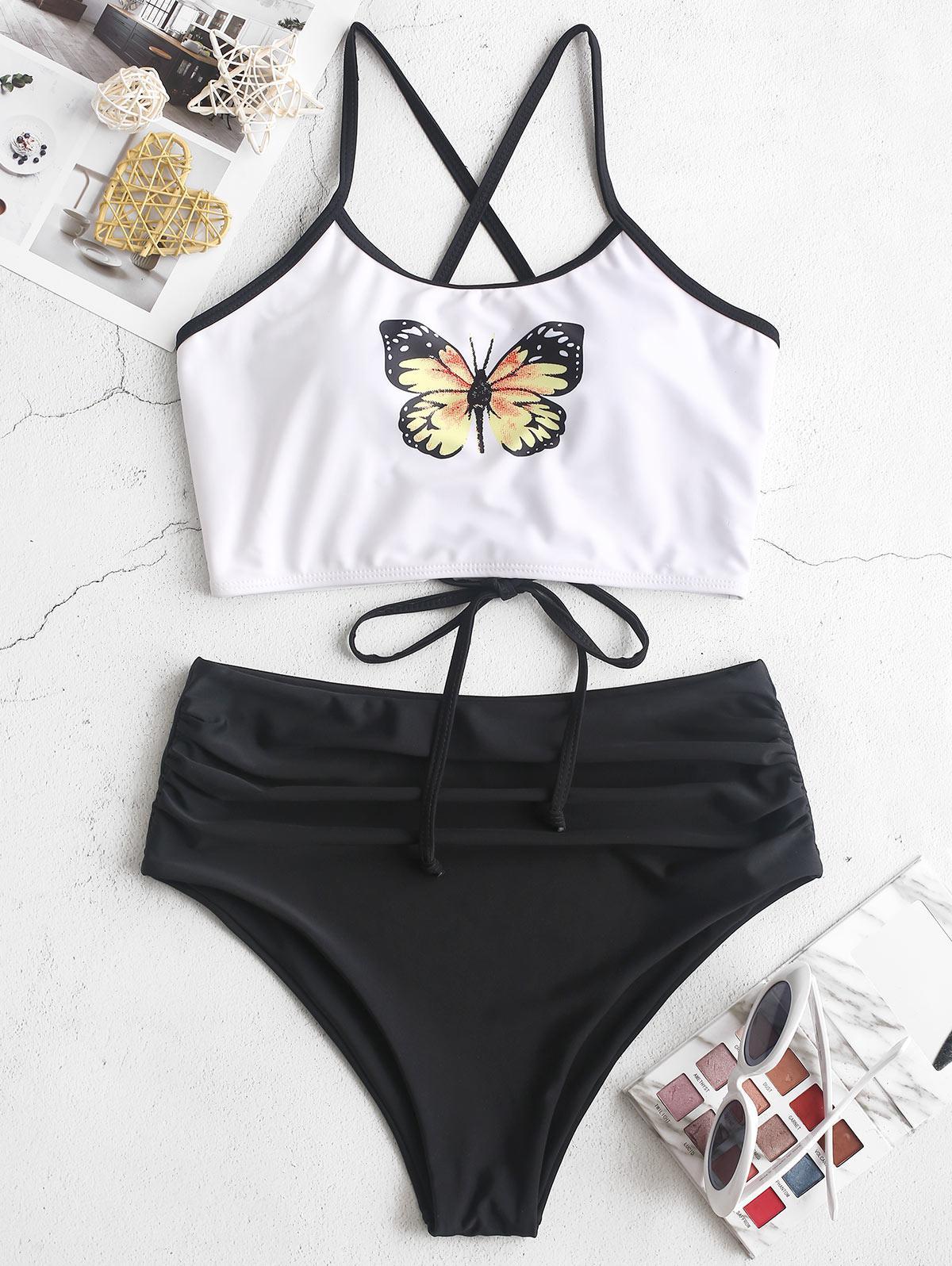 ZAFUL Butterfly Print Lace Up Tummy Control Tankini Swimsuit фото