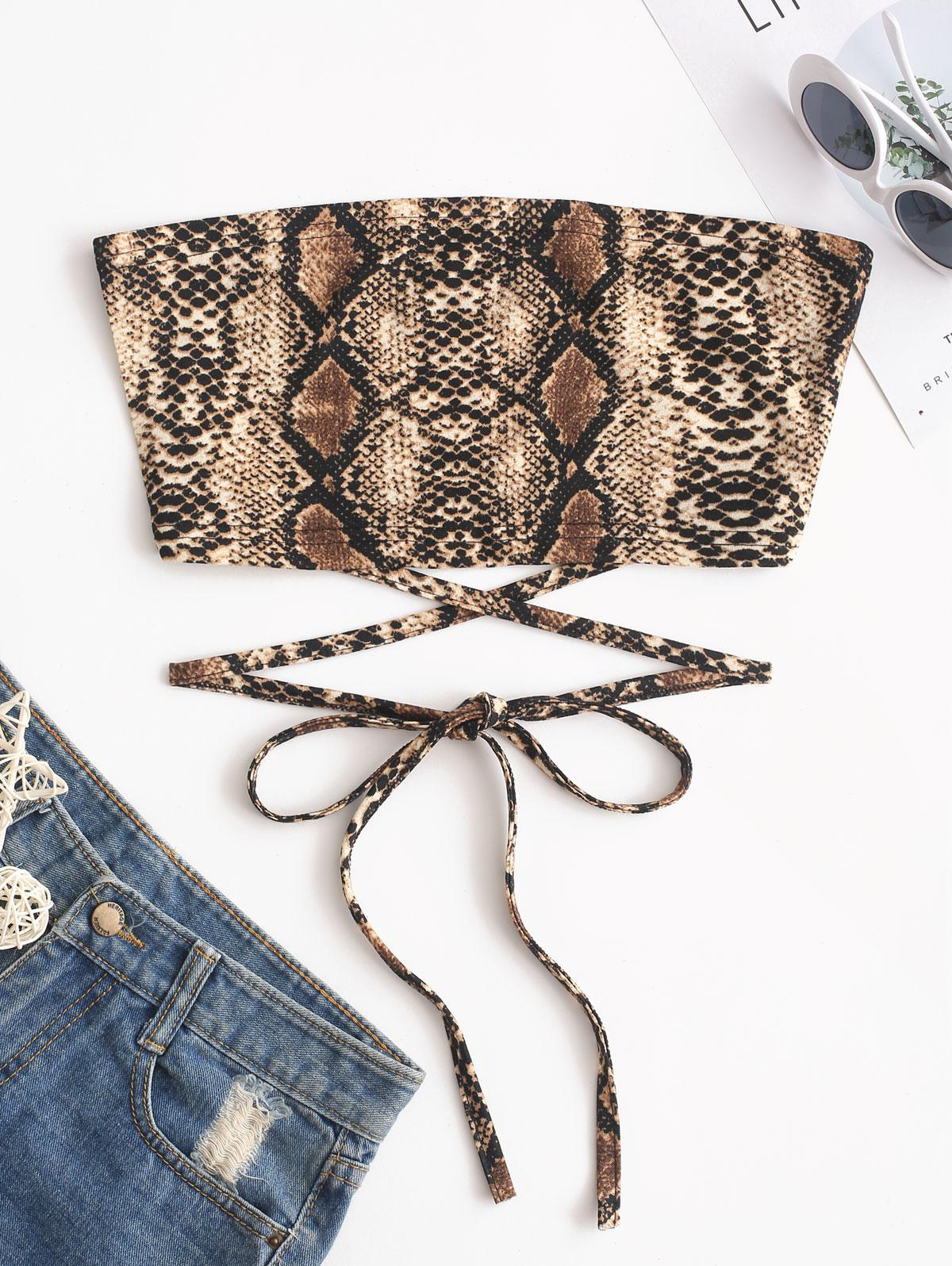 ZAFUL Criss Cross Snake Print Bandeau Crop Top