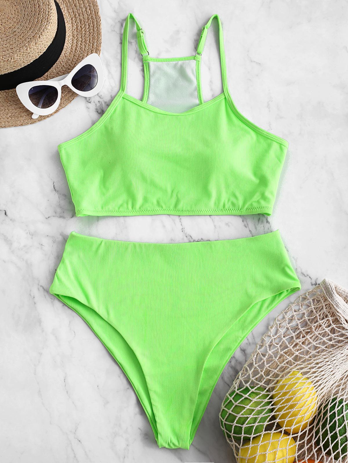 ZAFUL Ribbed Neon High Cut Tankini Swimsuit фото