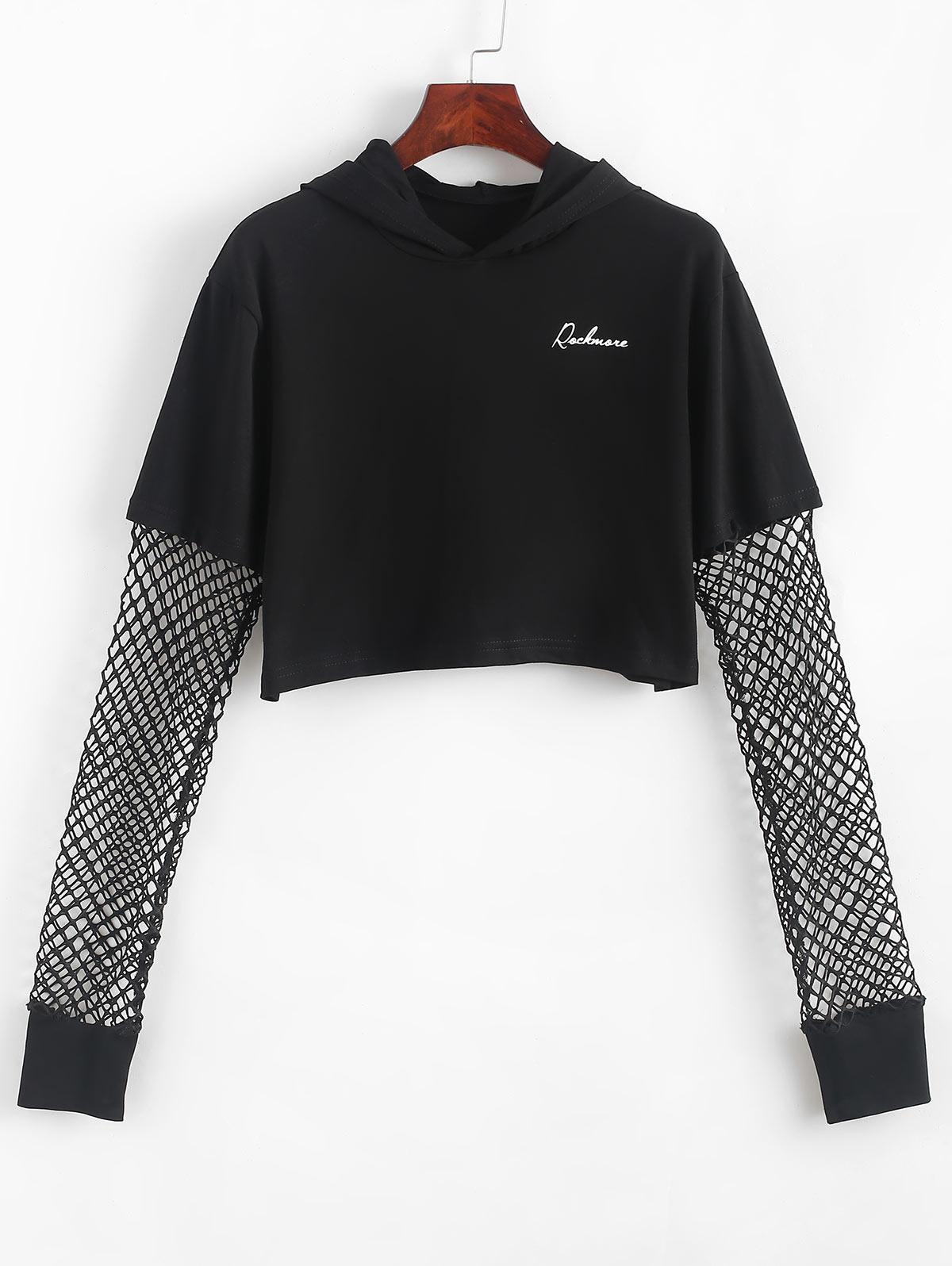 Fishnet Panel Cropped Letter Graphic Hoodie thumbnail