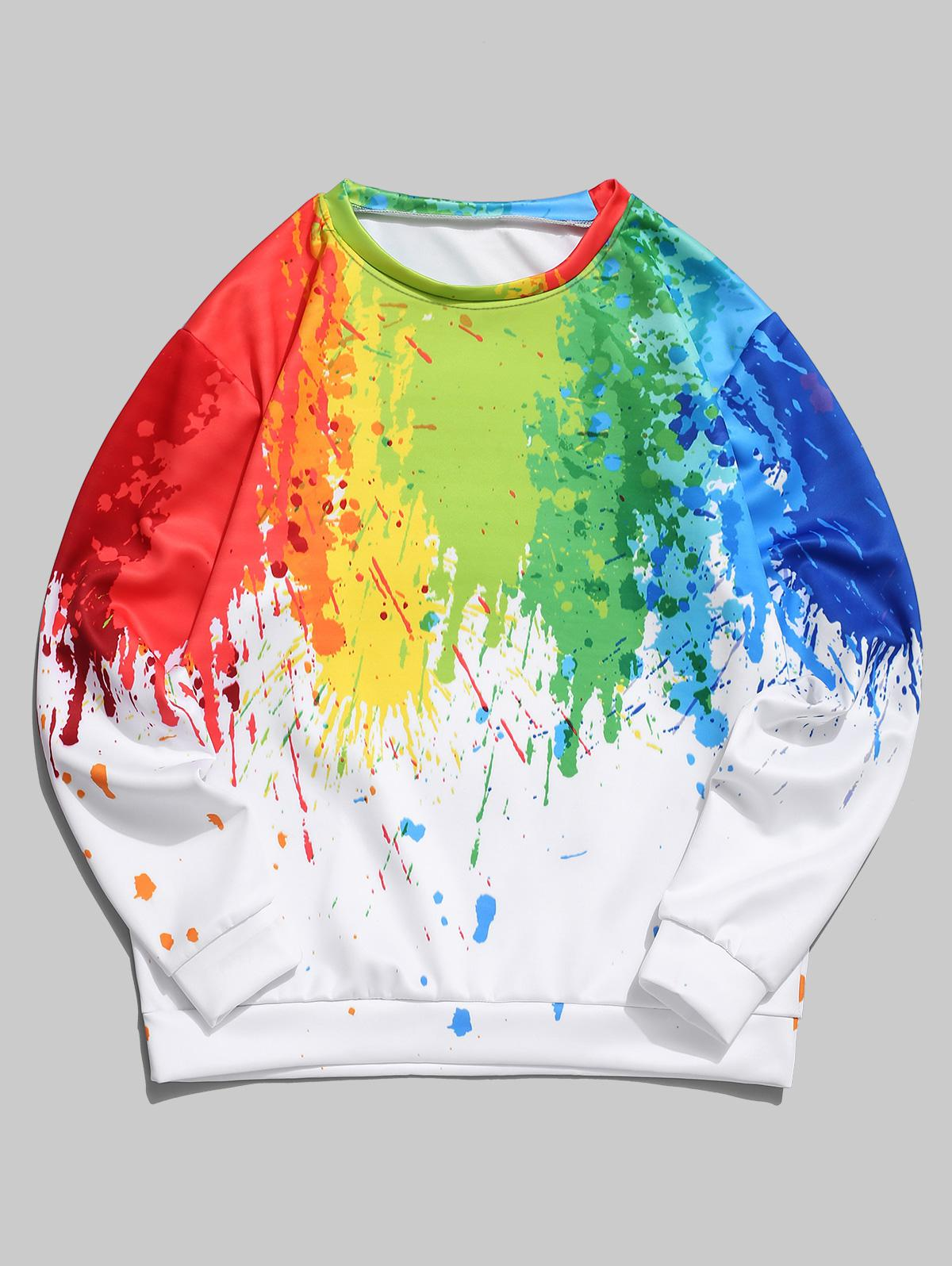 Colorful Painting Splatter Print Pullover Casual Sweatshirt, Green snake