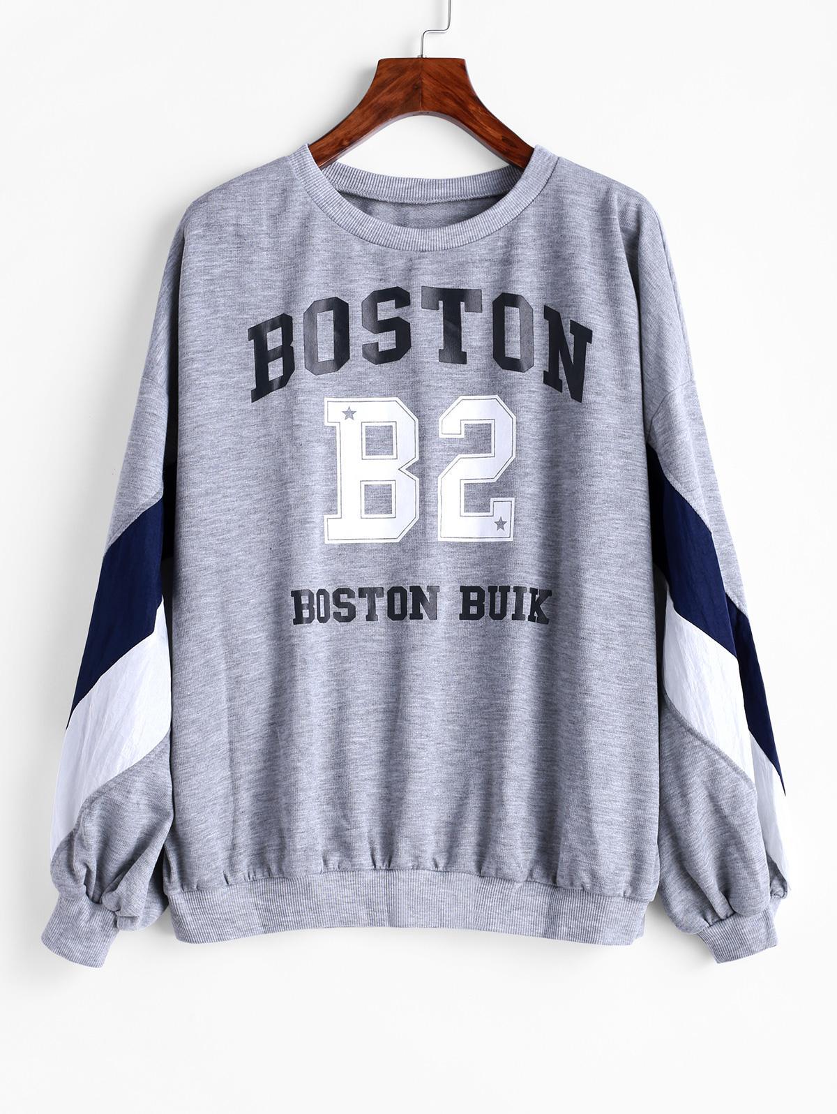 Letter Graphic Drop Shoulder Loose Sweatshirt, Gray cloud