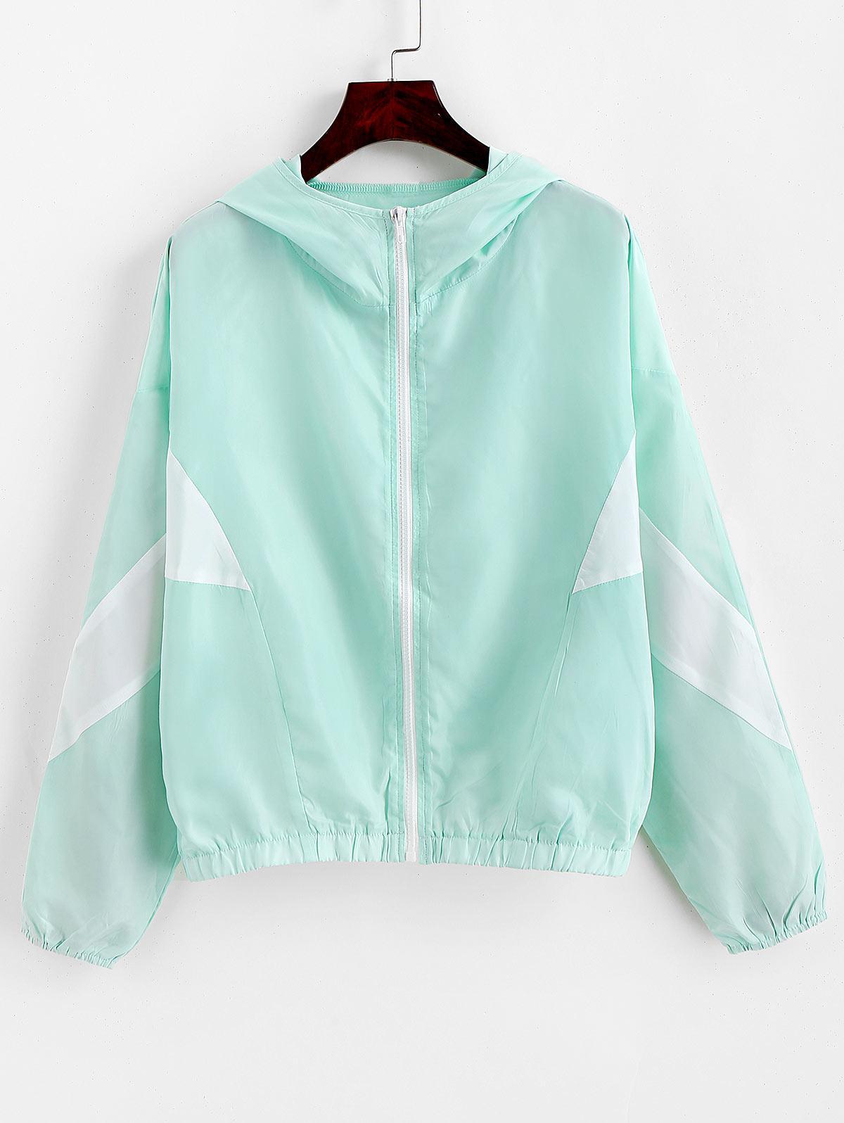 ZAFUL Hooded Zip Batwing Sleeve Two Tone Jacket, Mint green