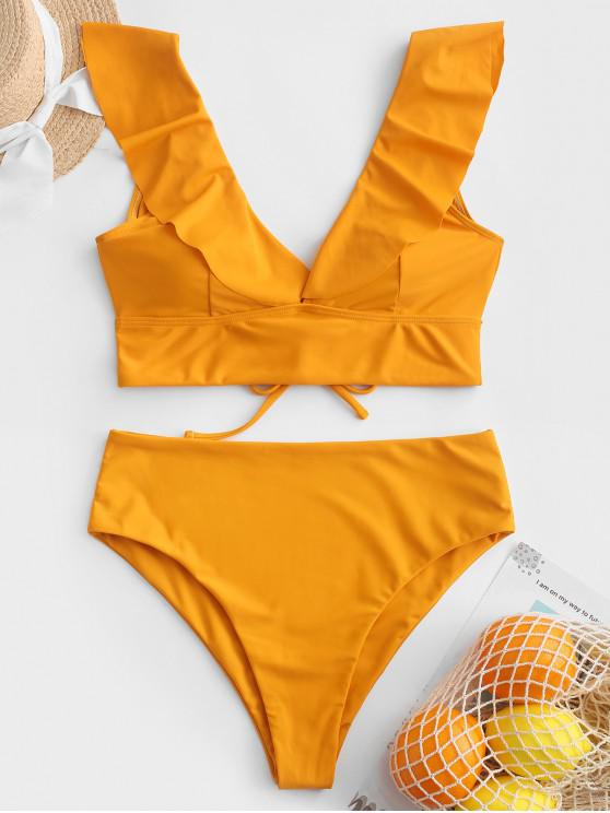 buy ZAFUL Lace Up Flounce Plunge High Rise Tankini Swimsuit - BEE YELLOW M