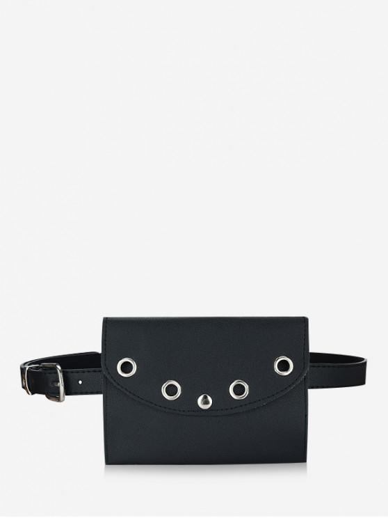 outfits 2 in 1 Grommet PU Waist Bag with Removable Buckle Belt - BLACK