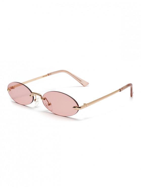 best Retro Metal Oval Rimless Sunglasses - APRICOT