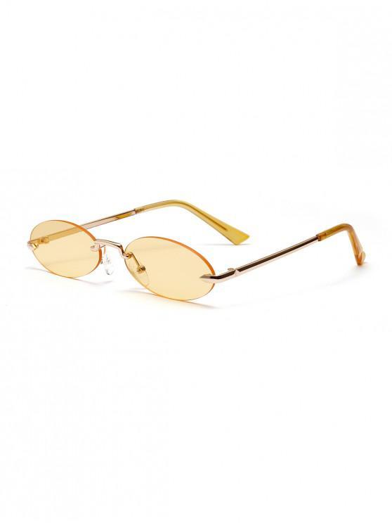 new Retro Metal Oval Rimless Sunglasses - CREAM