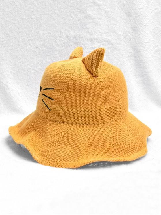 women's Cute Cat Woven Bucket Hat - YELLOW