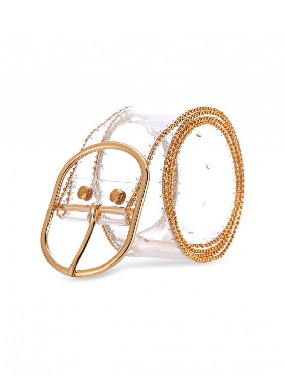 Cinturón ancho con hebilla transparente - Marrón Dorado