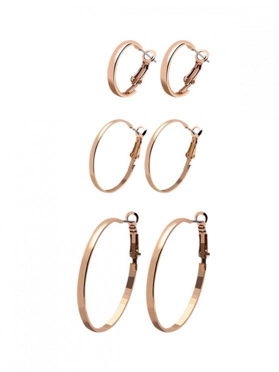 sale 3Pairs Circle Glossy Hoop Earrings Set - GOLD