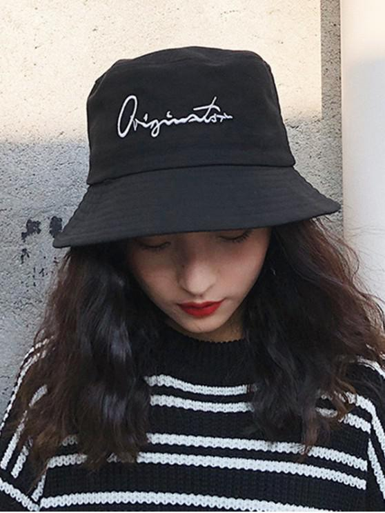 14dafba8a Casual Letter Embroidered Bucket Hat BLACK WHITE