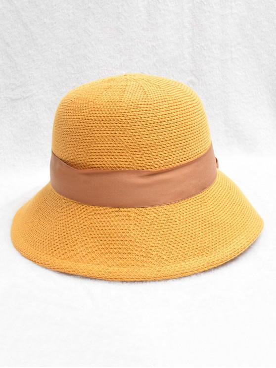 Sombrero de punto de diseño Bowknot - Mostaza