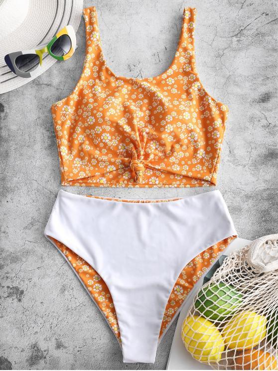 women ZAFUL Daisy Print Knot Reversible Tankini Swimsuit - BRIGHT YELLOW L