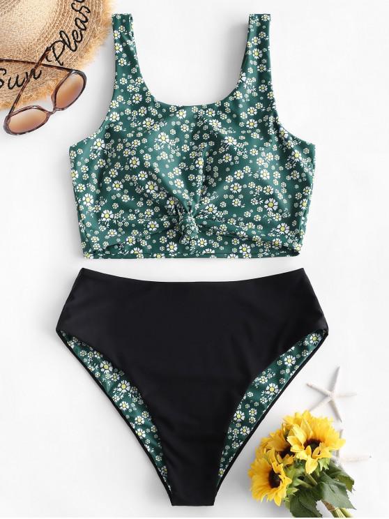 hot ZAFUL Daisy Print Knot Reversible Tankini Swimsuit - MEDIUM SEA GREEN M