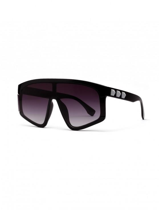 ladies Big Frame Decoration Sunshade Sunglasses - BLACK