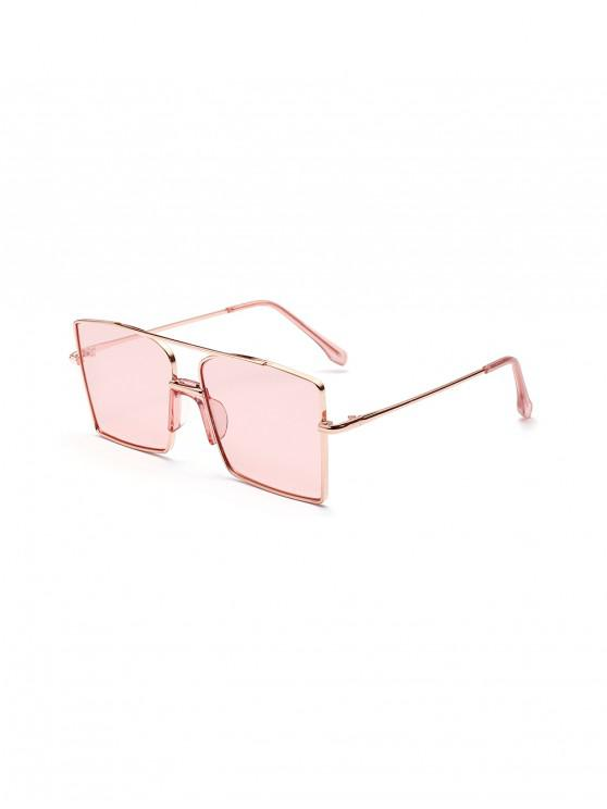 best Vintage Bar Metal Oversized Square Sunglasses - PIG PINK
