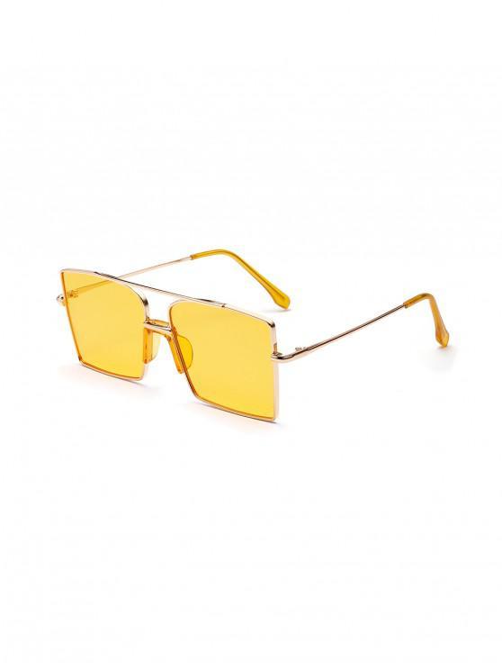 Gafas de sol cuadradas extragrandes de metal con barra vintage - Amarillo de Maíz