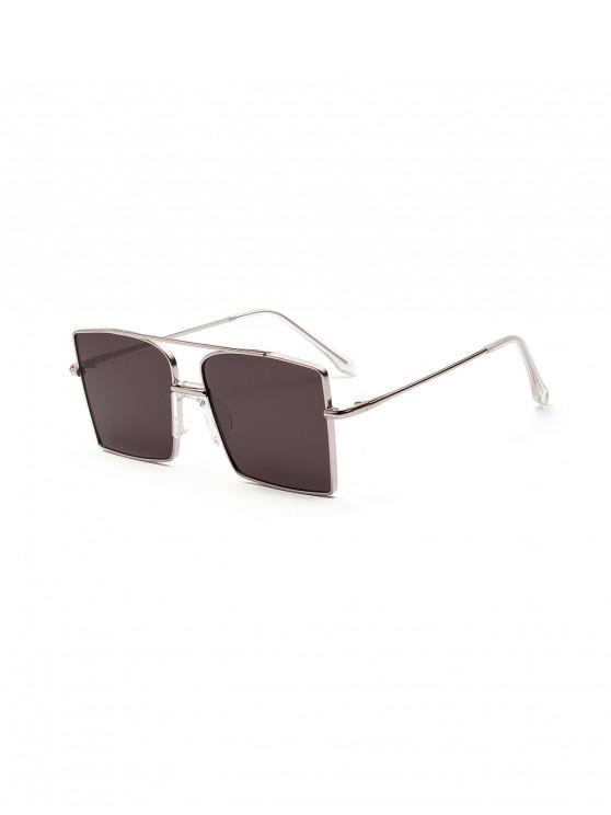 Bar- Metall-Alte Übergroße -Quadratische Sonnenbrille - Graphitschwarz