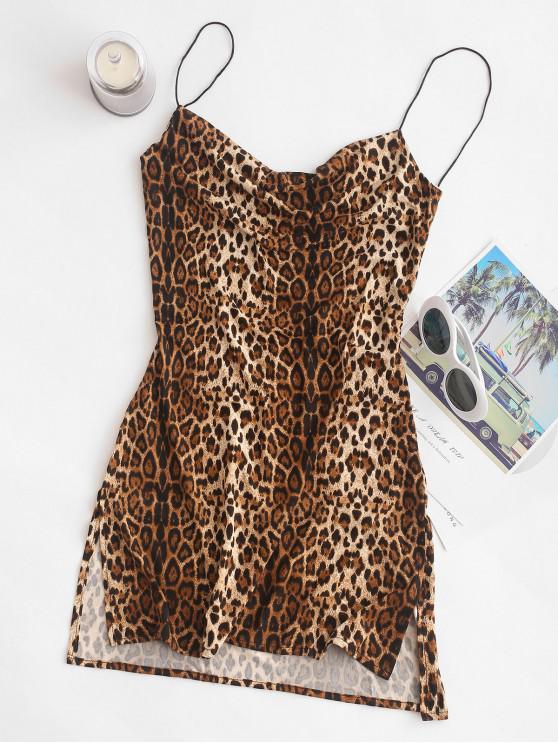 ladies Snakeskin Leopard Print Slits Flared Cami Dress - MULTI M